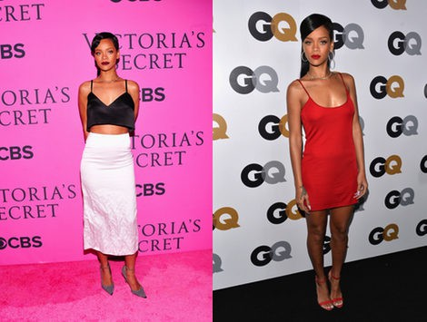 Rihanna con un conjunto de Miu Miu blanco y negro y un vestido minivestido rojo de Calvin Klein