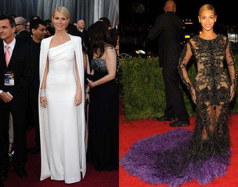 Gwyneth Paltrow y Beyoncé, las mejor vestidas de 2012