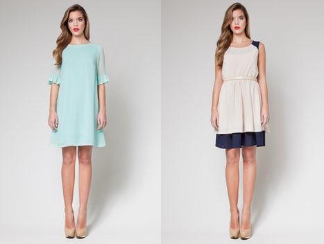 Vestidos de colores pastel: azulado y nude