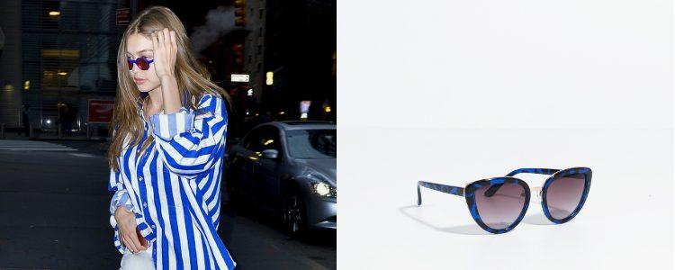 Las gafas de sol, único accesorio del look de Gigi Hadid